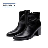 italienische dressing man boots großhandel-2018 Designer Neue Italienische Echtem Leder Männer Stiefeletten Mode High Heel Männer Kleid Stiefel Spitz Motorradstiefel Schwarz 38-47