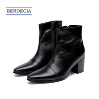 ingrosso stivali neri di caviglia-2018 Designer New Italian Leather Genuine Uomo Stivaletti Fashion High Heel Men Dress Boots stivali punta a punta stivali neri 38-47