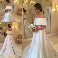 Wholesale wedding dress slim line lace resale online - Modest bateau neck Arabic country Wedding Gowns Bridal Dresses Satin elegant slim court train cheap plus size A Line Wedding Dresses