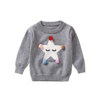 bebek örme taç toptan satış-Sonbahar Kış Pamuk Taç Desen Kazak Tops Bebek Çocuk Kız Örme Hırka Giyim Giyim