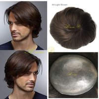 Wholesale thin lace wigs - Super Thin Skin Hair Human Men Invisible Hairline V-loop Male PU Toupees Natural Looking Brown Color
