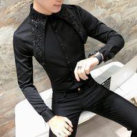 Wholesale korean sexy dresses - High Quality Korean Tuxedo Shirt Men Fashion 2018 Spring Summer Sexy Lace Men Shirt Long Sleeve Night Club Singer Costume Shirts