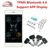 Wholesale External Tpms - New TPMS Bluetooth 4.0 Mobile Phone APP Control Display Tire Pressure Monitor Systems 4 Internal external Sensors OBD Interface