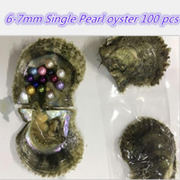 Wholesale culture mix - 100 Pcs Akoya Shell Pearls Oyster 50 Colors Mixed Colors 6-7 mm Cultured Round Pearl Oyster Vacuum Packing Fedex DHL Free Shipping