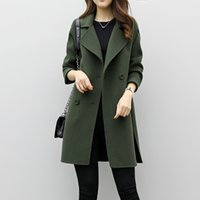 Wholesale wollen coats - Fashion Women Parka Autumn Winter Long Jacket Ladies Cotton Wollen Solid Casual Outwear Parka Casual Cardigan Slim Coat Overcoat