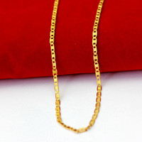 Wholesale Fashion Jewelry Deals - Wholesale-2018 new high quality 24K gold necklaces chain super deal gold chain men jewelry vacuum plated 50cm new fashion jewelry