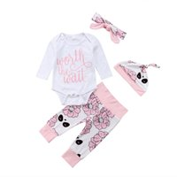 милые зимние наряды для гетры оптовых-New Winter Baby Girls Boys Clothes Newborn Infant Bodysuit+Pants Leggings+Hats+Headband 4pcs Outfits Floral Cute Baby Clothing