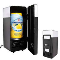 nevera nevera al por mayor-2 en 1 escritorio Mini refrigerador USB Gadget Latas de bebidas Refrigerador Calentador Refrigerador Con luz LED interna Uso de automóvil Mini refrigerador TB