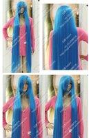 ingrosso parrucche blu cielo-Cos Wigs Sky Blue 150CM Lungo rettilineo cosplay resistente al calore capelli