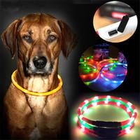 usb pet collars achat en gros de-New USB Recharge Nuit Clignotant Chien LED Colliers Pet Collar Lumineux De Mode Teddy Pet Colliers T3I0420