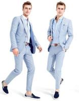 esmoquin azul mañana al por mayor-Bespoke Men Morning Trajes 2019 Tailcoat Novio Boda Tuxedos Light Blue Yong Hombres Ropa de trabajo diaria