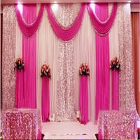 mariage de soie glacée achat en gros de-Décorations de mariage 3 m * 3 m 3 * 6 m 4 m * 8 m décorations de rideaux de mariage paillettes d'argent