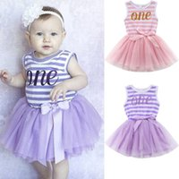 Wholesale tulle bow stripe - Cute baby girl princess stripe tutu dresses sleevless sundress bowknot tulle summer children clothing pink purple vestidos dress boutique