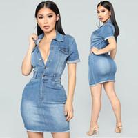 elegante jeanskleider großhandel-Revers Hals Denim Kleid Frauen Elegante Kurzarm Mini Jeans Bodycon Club Tragen Taste Schlank Bandage Party Kleider Tasche