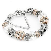 elegantes pulseras de cuentas de cristal al por mayor-Granos de cristal blanco DIY moda Rhinestone lindo de la mariposa elegante Charm pan pulseras brazaletes para las mujeres regalo envío gratis D631S