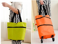 Wholesale shopping trolley bags wheels resale online - Portable folding shopping bag trolley hand reusable storage Shopping Bag On Wheels Rolling Grocery Tote Handbag