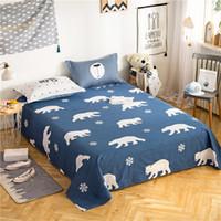 ingrosso fogli piani di stampa animale-3Pcs Baby Girl Boy Biancheria da letto Biancheria da letto stampata Cartone animato blu bianco orso polare animali federe lenzuolo matrimoniale doppia regina king size