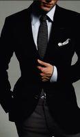 Wholesale italian suit 48 - 2018 Custom Made Italian Tuxedo Jacket Slim Fit Dinner Party Prom Suits Groom Tuxedos Groomsmen Wool Stripe Pants (Jacket+Pants)
