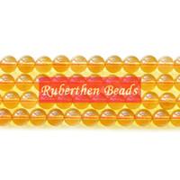 gelbe lose perlen großhandel-NB0076 Hohe Menge Gelb Kristall Naturstein Citrin Quarz Lose Perlen Stein Runde Perle Besten Schmuck Machen Zubehör