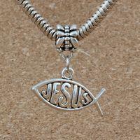 jesus metall großhandel-100 teile / los Antiqued Silber Fisch form