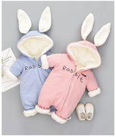 neugeborene warme rompers großhandel-Cute Bunny Fleece Samt Infant Kleidung Winter Baby Mädchen Jungen Strampler Warme Neugeborene Baby Neugeborene Kleidung Schnee Overall