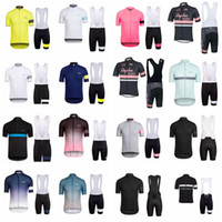 Wholesale blue jersey bib resale online - RAPHA team Cycling Short Sleeves jersey bib shorts sets cycling clothing breathable outdoor mountain bike D1320