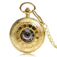 часы для женщин серебристый оптовых-Golden/Silver/Bronze  Fashion Double Open Engraved Vintage Mechanical Watches Women Hind Winding Pocket Watch with Chains