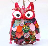 ingrosso zaini per bambini-Dimensione media 11 colori cinese carattere etnico a mano in cotone gufi zaini bambini pacchetto bambini ragazze scuola moda gufo borse