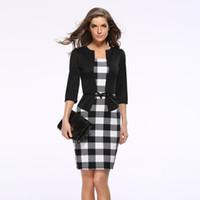 ingrosso donne più vestito di formato-2018 New Women Autumn Dress Suit Abiti eleganti Business Blazer Abiti da ufficio formale Tuniche da lavoro Abito a matita Plus Size Invia Cintura