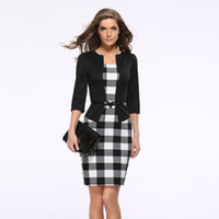 iş için resmi blazerler toptan satış-2018 Yeni Kadın Sonbahar Elbise Suit Zarif Iş Takım Elbise Blazer Resmi Ofis Takım Elbise Çalışmaları Tunik Kalem Elbise Artı Boyutu Kemer Göndermek