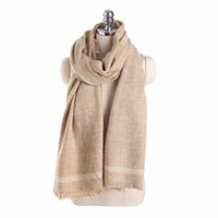 Wholesale double sided cashmere pashmina - 2018 Winter Fashion Geometric Stripes Solid Color Scarf For Women Double-sided Cashmere Ladies Warm Pashmina Shawls and Wraps