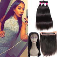 Wholesale full human hair weave extensions for sale - Group buy 8A Remy Brazilian Virgin Hair Weaves Body Wave Straight Bundles With Full Lace Closure Brazilian Human Hair Extensions