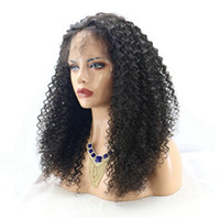 Wholesale heavy density full lace wigs - Heavy Density Human Hair Wigs Kinky Curly Full Lace Wig Glueless Front Lace Wigs Virgin Brazilian Hair Wigs Bleached Knots With Baby Hair