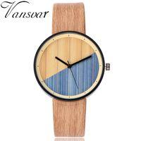 имитация наручных часов для женщин оптовых-New Vansvar Men Women Wood Watch  Imitation Wooden Watch Vintage Leather Quartz Wood Color Female Male Clock Hot