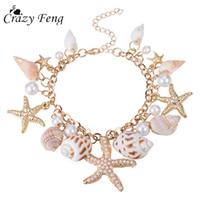ingrosso catena di gioielli per le donne-Crazy Feng 2018 Moda Sea Shell Starfish Bracciale per le donne Summer Beach Charm Bracciali Boemia Chain Bracelet Boho Jewellery