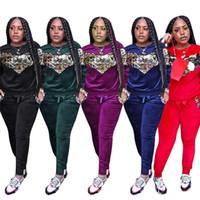 combinaison de jogging rouge noir achat en gros de-Survêtement de marque pour femme Casual Velvet Sequins Manches longues Ensemble de jogging en deux parties