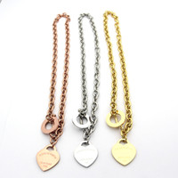 Wholesale jewerly necklaces resale online - famous brand jewerly L titanium Steel K gold plated necklace short chain silver man heart necklace pendant for women couple gift