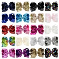 Wholesale wholesale girls hair bubbles - 20 design Girls jojo Bow paillette bubble flower hairpins Barrettes children Bow hair accessories princess Bow Bling Hair Clip KKA4516