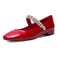 Crystal Flat Women Shoes Shallow Bocca Preppy Style in vernice lucida con cinturino in pelle con strass rosso scarpe casual