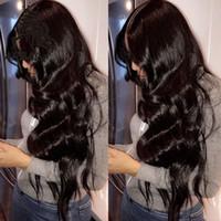 ingrosso capelli braziliani dell'onda naturale-Parrucche piene del pizzo dei capelli umani per colore naturale di densità 130% dell'onda del corpo dei capelli di Brazillian Remy delle donne nere