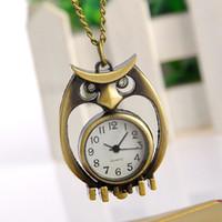 ingrosso owl a forma di orologio-Hot New Vintage Owl Shape Orologio da tasca al quarzo con ciondolo collana a catena Orologi Orologi da donna di lusso per uomini Orologi digitali Relogio Clock