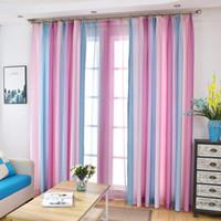 hermosas cortinas para el dormitorio al por mayor-Nuevo diseño colorido del arco iris Hermosa cortina de ventana para Tratamientos Para Ventanas tul verde azul sala de estar 3D dormitorio elegante Cortinas Draps
