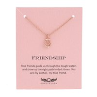 Wholesale Friendship Birthday Gifts - Sykesha Valentine Day's Gift Custom Love Anchor Necklace Friendship Anchor Pendant Necklace Birthday Women Statement