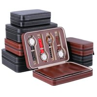 Wholesale watch travel case leather for sale - Group buy 2 Slot Portable Watch Box PU Leather Package Travel Organizer Case Display Container Storage Holder