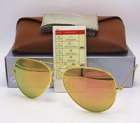 Wholesale Flash Drive Boxes - 1pcs Best Quality Men Women Designer Sunglasses Pilot Sun Glasses Gold Frame Flash Colorful Rose Pink 58mm 62mm UV Lenses Brown Box