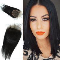 bakire hint saçları fiyatları toptan satış-Üst Sınıf Bakire Hint İnsan Saç Kapatma Düz 4x4 Serbest Yol Parçası Doğal Renk Toptan Fiyat