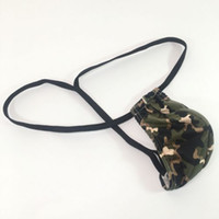 Wholesale v thongs - Mens Sexy Posing Thong Pouch V-back G2834 stretchy Swim fabric Printed Camo narrow waist