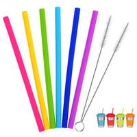 cepillo de silicona para alimentos al por mayor-Pajas de beber de silicona Categoría alimenticia Reutilizables coloridos Pajas de beber de silicona con pinceles de limpieza Nuevo diseño FFA404 360PCS