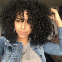 ingrosso lunghezza dei capelli delle donne-Parrucche ricce crespo nere sintetiche nere dei capelli ricci per la lunghezza della spalla della fibra di resistenza al calore delle donne di colore