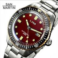 anillos de reloj resistente al agua al por mayor-San Martín Sesenta y cinco hombres de buceo de la vendimia acero inoxidable del reloj automático del reloj de agua 200 Anillo de bronce resistente retro reloj de pulsera